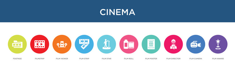 cinema concept 10 colorful icons