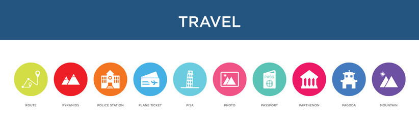 travel concept 10 colorful icons