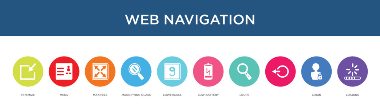web navigation concept 10 colorful icons