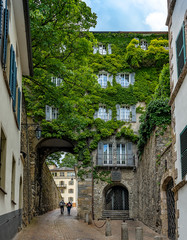 Cozy narrow street in Sion. Sion is located in the west of Switzerland.