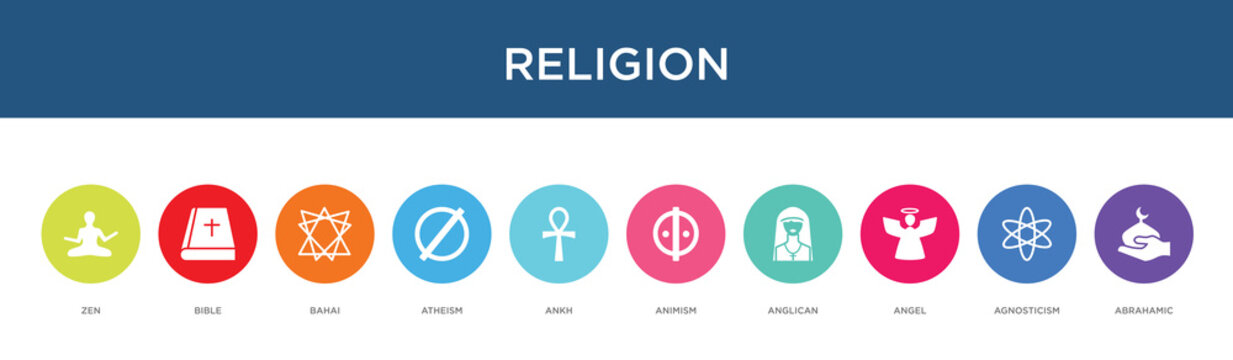 religion concept 10 colorful icons