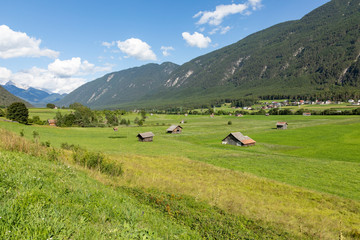 tyrolean landscape with fresh grass and bright meadows at Tarrenz, Austria