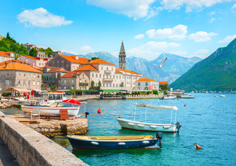 Deurstickers Blauw Historic city Perast