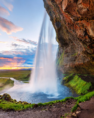 Instagram format 5x7 photo landscape in natural post-processing - Seljalandsfoss waterfall in...