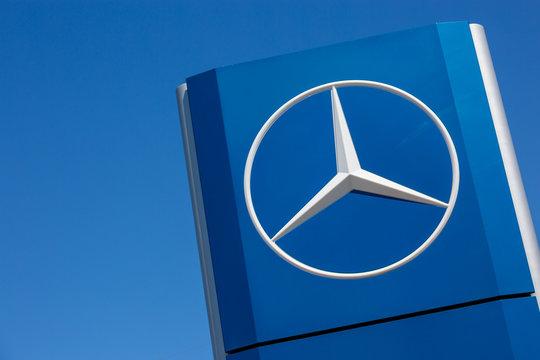 Mercedes-Benz logo on blue background
