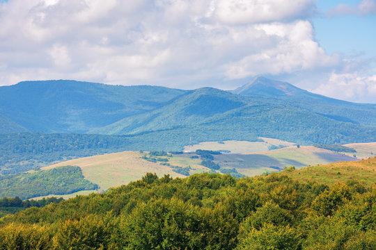 wonderful autumn mountain landscape. pikui peak of watershed ridge beneath clouds. wonderful carpathian countryside on a sunny day of september.