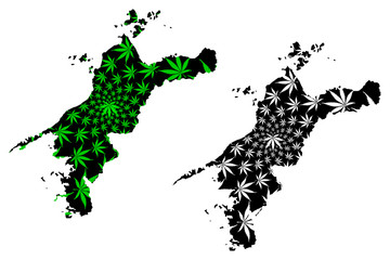 Ehime  Prefecture (Administrative divisions of Japan, Prefectures of Japan) map is designed cannabis leaf green and black, Ehime map made of marijuana (marihuana,THC) foliage,....