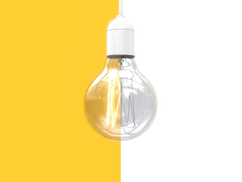 Edison's light bulb on and off. Image of an incandescent lamp divided in half into two parts. Contrast comparison of opposites. Isolated on white and yellow background. 3D rendering.