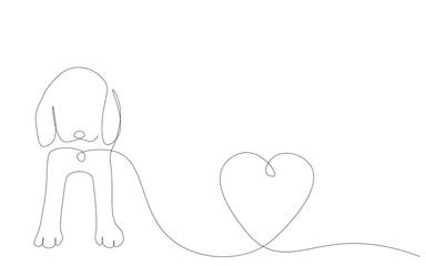 Puppy beagle dog love vector illustration