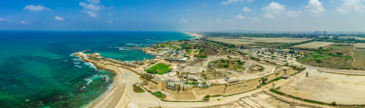 Aerial view of the ruins of the Roman Amphitheater in the sand dunes of the ancient city of Caesarea Maritima built by Herod the Great