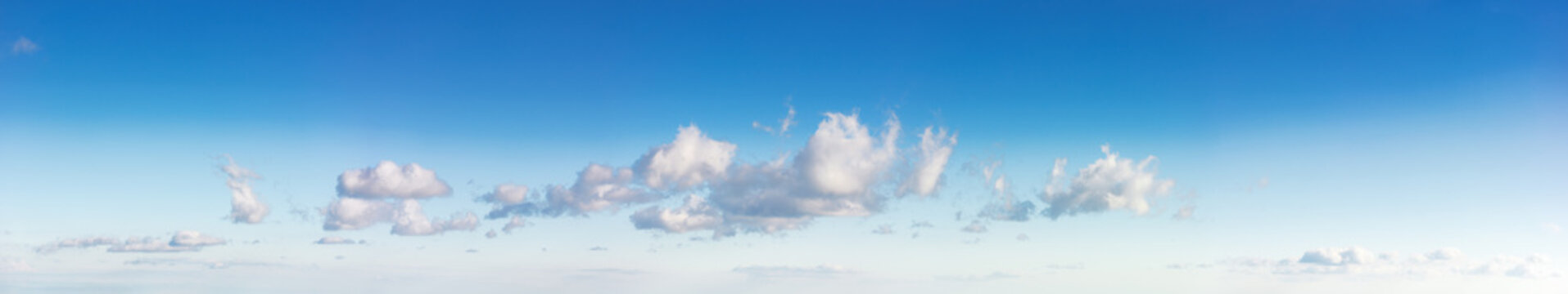 beautiful cloudscape in evening light. fluffy clouds on the blue sky. panoramic picture useful for compositing