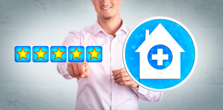 Smiling Healthcare Consumer Giving Star Rating