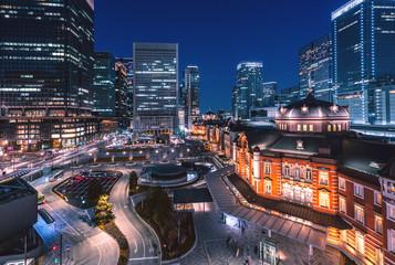 Tokyo railway station at night Fototapete