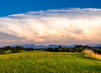 Spoed Foto op Canvas Blauwe hemel Cumulonimbus clouds in Bavaria, Germany