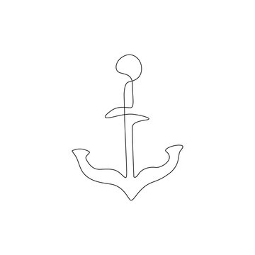 Anchor continuous line drawing, tattoo, sticker, patch, print for clothes and logo design, silhouette one single line on a white background, isolated vector illustration.