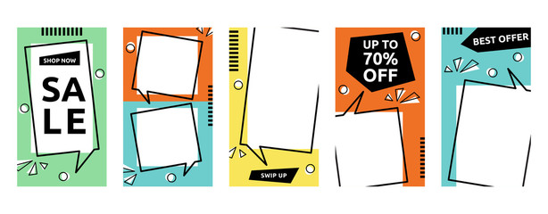 Obraz Social Media Stories Business Sale Marketing Promotion Banner Template Set - fototapety do salonu