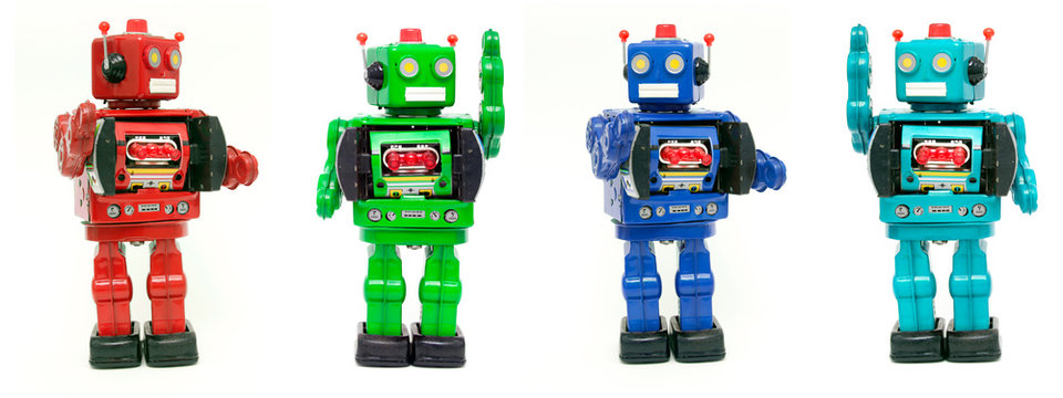 our color  robot toys isolated
