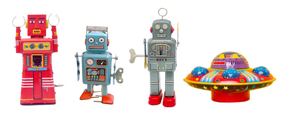 Poster UFO isolated robots and a UFO retro tin toys