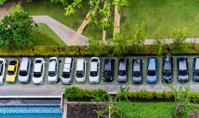 Aerial top view of the parking lot