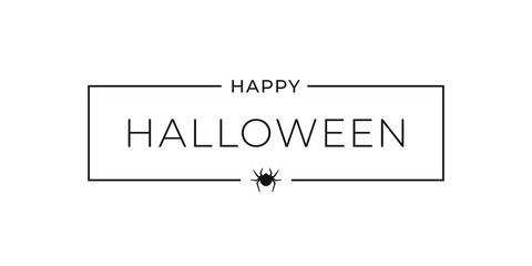 Happy halloween banner on white background sign