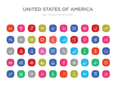 50 united states of america colorful outline icons set. can be use for web mobile