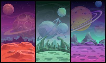 Space backgrounds collection. Fantasy alien planet landscapes set.