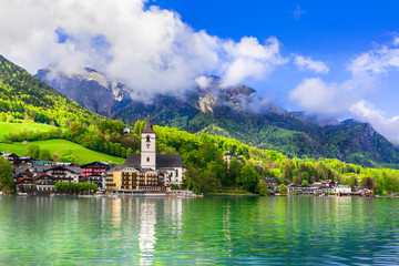Amazing idyllic scenery. Lake Sankt Wolfgang in Austria. Boat river cruises
