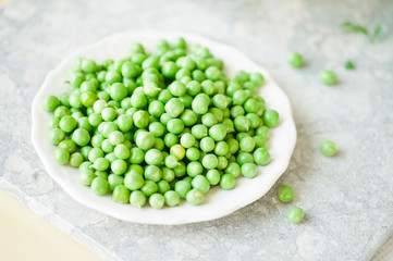 Fresh Picked Peas on a white plate