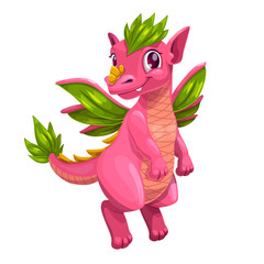 Photo sur Toile Bestsellers Little cute cartoon pink dragon. Kind monster icon.