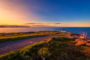 View of Cape Spear Lighthouse National Historic Site at Newfoundland Canada during sunset