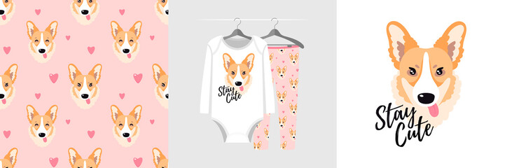 Wall Mural - Seamless pattern and illustration for kid with corgi, text Stay cute