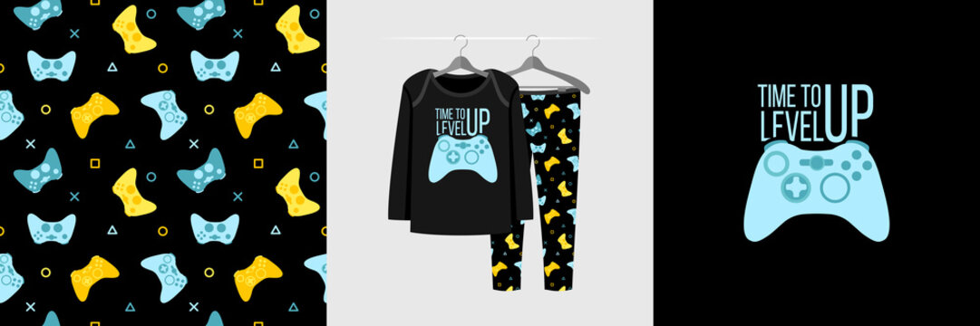 Seamless pattern and illustration for kid with gamepad and quote Time to level up