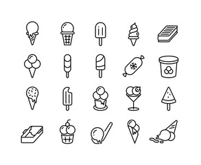 Ice cream line icons. Different types of frozen yoghurt parfait sorbet in form of ball in bucket on stick in cup. Vector illustration symbols ice cream sweet frozen food set