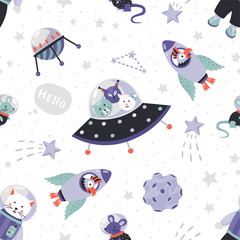Space animals pattern. Cute cartoon baby astronauts seamless print, doodle animals in cosmos with stars and planets. Vector illustration wallpaper with cat and young animal on cosmos background