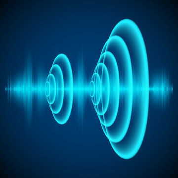 Abstract digital sound wave. Sine wave on dark background. Radial sonar waves. Vector illustration
