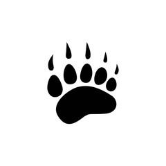 black bear trace silhouette. Vector flat illustration. polar bear paw