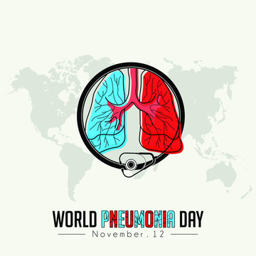World Pneumonia Day, Red ble Lungs Color Icon Cartoon Vector with stethoscope that surrounds the lungs