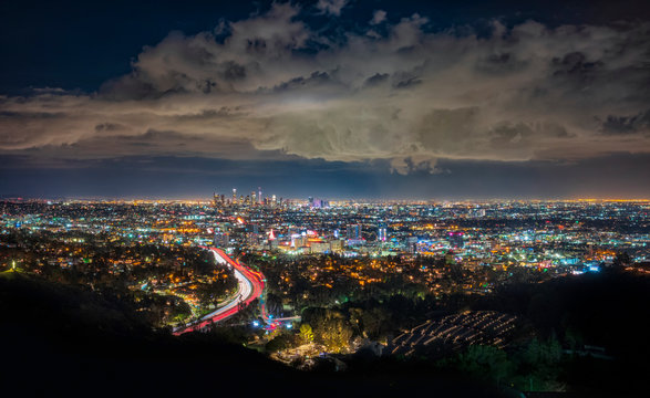 Downtown Los Angeles, California, after a sunset, seen from Mulholland Drive