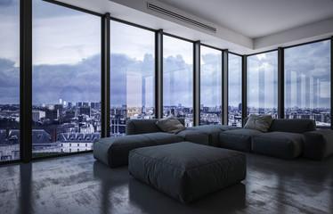 Fototapeta Spacious living room with large furniture obraz