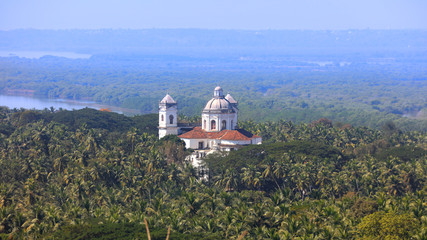 Fototapete - The Church of St. Cajetan viewed form Monte Hill in Old Goa, India.