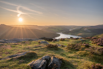 View of the Ashopton Viaduct, Ladybower Reservoir, and Crook Hill in the Derbyshire Peak District National Park.