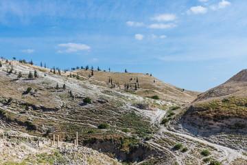 Top view of the mountain valley near Pella (Tabaqat Fahl), Jordan