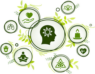 natural mindfulness / meditation / relaxation icon concept – green mindful living, awareness, stress-relief - vector illustration - fototapety na wymiar
