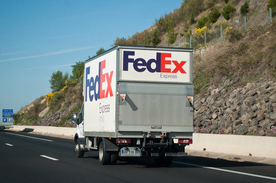 Fedex truck on the road