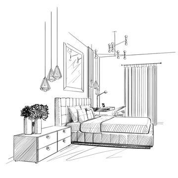 Bedroom interior vector sketch.