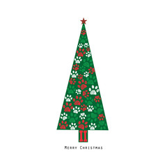 Made of paw prints green Christmas tree. Happy new year greeting card
