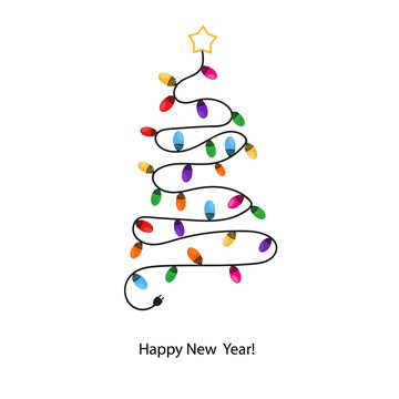 Made of colorful light bulb tree. Happy new year greeting card