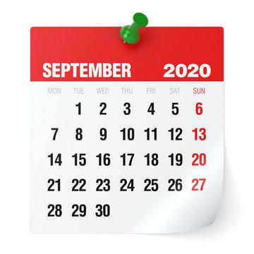 September 2020 - Calendar. Isolated on White Background. 3D Illustration
