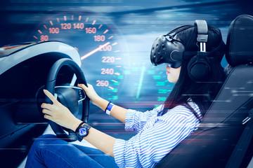 Young woman driving a virtual racing car Wall mural