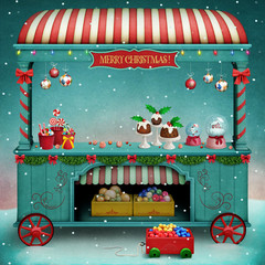 Holiday illustration or poster or greeting card for Christmas or New Year with  vintage market showcase